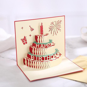 NEW arrive birthday cake 3D Pop UP Gift & Greeting 3D Blessing Cards Handmade paper silhoue & Creative Happy christmas cards OWD3244