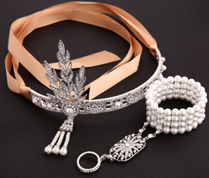 Vintage diamond crystal leaves pearl tassel crown satin wedding bridal headbands hair jewelry with pearl charm bracelets set