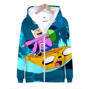 Anime Finn and Jake 3D Print Zip Up Women Men Hoodie Sweatshirt Hip Hop Long Sleeve Cosplay Zipper Hooded Jacket