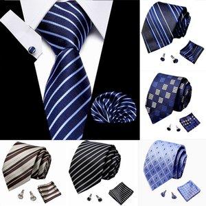 Wedding Blue Neckties Set Men's Stripe Dot Lattice Ties Jacquard Woven 100% Silk Men Solid Tie Dots Neck Ties Mens Classic
