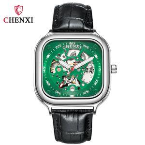 Quadrado Moda Criativa Novo Automático Hollow Mechanical Watch Homens Provavelmente Provavelmente Homens Mecânicos (Cinto Verde)