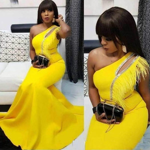African Plus Size One Shoulder Feather Mermaid Evening Dresses Satin Black Girl Party Prom Dress Pageant Gown Formal Gowns Robe De Soiree