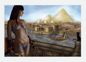 A.414 Egypt Pyramids The Cat Handpainted &HD Wall Art Print Original Oil Painting on Canvas high quality Home Decor Multi Size Framed &Unfra
