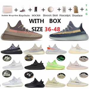 With Box Fade Natural Asriel Carbon ash blue pearl stone Kanye West v2 Running Shoes Triple Black White Mens Women Trainers Sneakers 36-48