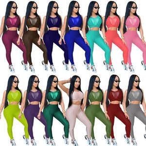 Tracksuits Plus Size Skinny Two Piece Sets Mesh Patchwork See Through Tanks and Slim Women Sports Pencil Pants Womens Sexy Yoga