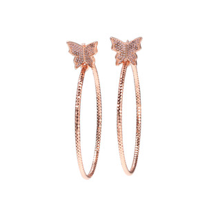 The Bling King Rose Gold Butterfly Set Copper Zirconia Stones Large Round Cycle Earrings Prominent Neck Length Female Q1129