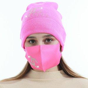 Bonnets d'hiver Casquettes avec masque facial Sport Tricot Cristal Party Chapeaux Épaissir Casual Casual Papillon Imprimer Caps Caps Casquettes HHA3411
