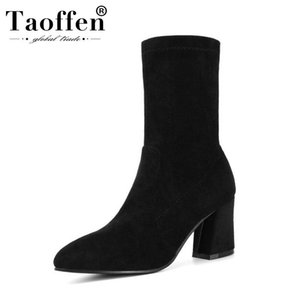 Taoffen Women 2020 Stretch Black Ankle Boots Pointed Toe Square Heels Daily Comfortable Short Boots Woman Footwear Size 34-45