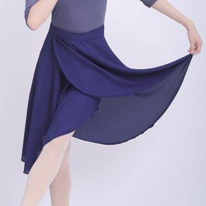 Ballet Skirt Women Adult Long Wrap Chiffon Skirt Lace Up Ballet Tutu Skate Ballerina Dance Wear