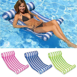 3 Colors Summer Swimming Pool Inflatable Floating Water Hammock Lounge Bed Chair Summer Inflatable Pool Float Floating Bed CCA9568 10pcs