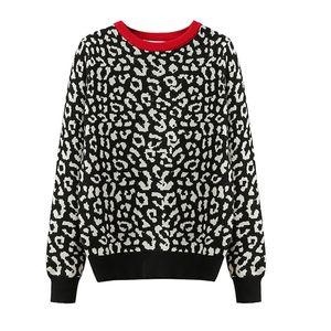 2021 korean jumper Autumn winter Knitted Sweater Women oversized sweaters female leopard jacquard fashion wool blends pullover