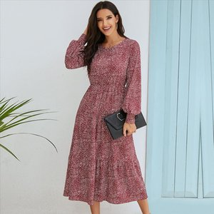Womens long dress for Urban leisure and autumn, polka dots,womans dress puff sleeves, boho dress, party dress, 2020