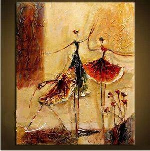 A.2 Bailarines de ballet, genuino pintado a mano Moderno Decoración de la pared Figuras Arte abstracto Pintura al óleo sobre la calidad Multi Tamaños de lona disponible SINE 1556