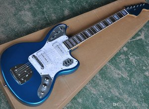 Wholesale Custom Metallic Blue Electric Guitar with P 90 Pickups,Rosewood Fretboard with White Binding,,White Pearl Pickguard