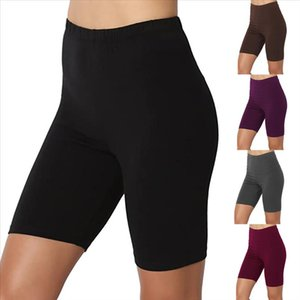 Leggings Women Sport Solid Mid Thigh Stretch Span Span High Cintura Activo Leñas cortas Vetement Femme 2020
