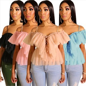 Summer Sheer Mesh Strap Blouse Women Sexy Off Shoulder Lace Up Bandage Hollow Out Blouse Shirts Ruffle Sleeve Top