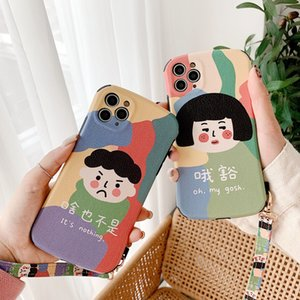 Fashion cartoon Iphone12 X Xmax Cell Phones Case Iphone11 Real Leather young girl 8plus max Luxury Popular Mobile Case