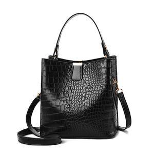Messenger Retro Alligator Shoulder Bag Bucket Bags Women Pattern Handbag Crocodile Ladies PU Purse Q1129