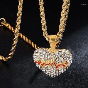 US7 Red Oil Heart Necklace & Pendant With 4mm Rope Chain Gold Color Cubic Zircon Men's Women Hip hop Jewelry For Gift1