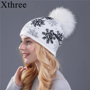 Xthree Real Mink Pom Poms Wool Rabbit Fur Knitted Skullies Winter for Women Girls Beanies Christmas snow Hat