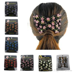 Vintage Jewelled Beaded Elastic Stretch Rose Flower Bow Glass Bead Cuff Double Insert Clips Headwear Magic Hair Comb