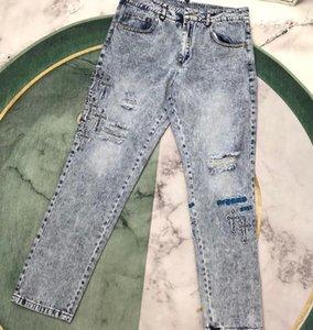 20SS novo produto na moda marca corvo corvo net vermelho com a mesma pele cruzada cai slim jeans para homens e mulheres
