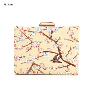 Alasir Chain Square Printed Peach Blossom Элегантный Плечи Crossbody Китайский Стиль Vintage сумка Мода Artsy Женщины Сумки Q1116