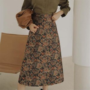 HziriP 2020 Girls Autumn Original Sweet Chic Retro Gold Print Skirt Students Womens High Waist Medium Length A line Skirts