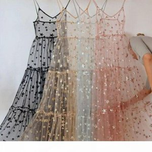 New Arrival Spaghetti Straps Tulle Long Women Dresses Fashion Bling Bling See Through Dress Sexy Fashion Hot Dress