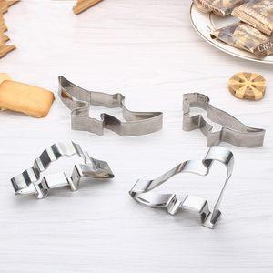 الفولاذ المقاوم للصدأ البسكويت العفن ديناصور شكل كعكة ستيريو قوالب أربعة قطعة مجموعة الأشكال غير النظامية الخبز العفن 3 9DM L1