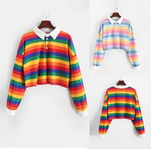 40# Women Color Stripe Button Long Sleeve Hoodie Rainbow Striped Sweatshirt Tops Blouse Short Turn-down Collar Pullover Hoodies