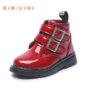 BAMILONG Kids Martin Boots Waterproof Girls Fashion Boots Children Leather Warm Thicken Boots Winter Zip Girls Casual Shoes B397 Y1116