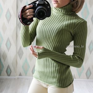 GIGOGOU Basic Ribbed Turtleneck Women Pullover Sweater High Neck Knitted Jumper TopWith Thumb Hole Fall Autumn Winter Sweater F11204
