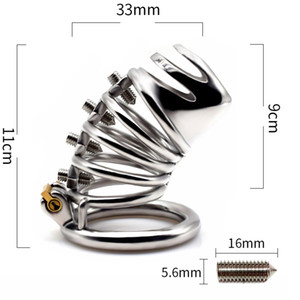 Latest Design Screw Squeeze Version Male Cock Cage With Circular Penis Ring Bondage Lock Stainless Steel Chastity Device Adult BDSM Sex Toy