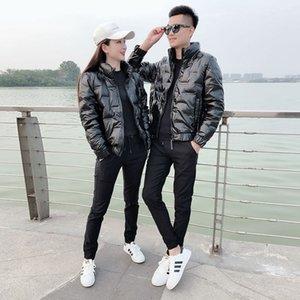 Chaopai 2020 new bright light white duck down down jacket couple short Korean standing collar men's and women's coats