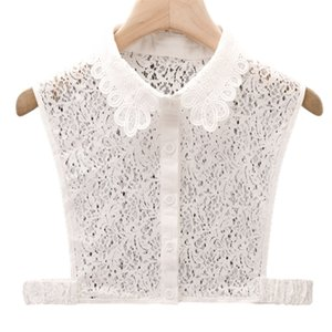 Women Girls Detachable Half Shirt Dickey Blouse Hollow Out Floral Lace Elegant Fake Collar Autumn Sweater Decorative Apparel Acc