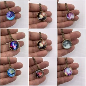 2021 Best selling simple solar system universe starry sky beauty luminous double-sided time gem necklace Zjwc06