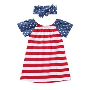 Estrellas a rayas bebé manga corta un vestido de línea americano bandera independencia nacional día de los Estados Unidos 4 de julio banda de arco