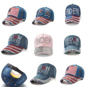 Новый бриллиант горный хрусталь бейсбольная шляпа президент BiDen джинсовые шарики женские мужские Snapbacks США флаг байден Harris Visor спортивные головные уборы E111802