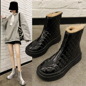 Meotina Cow Patent Leather Real Wool Platform Mid Heels Ankle Boots Motorcycle Boots Women Shoes Thick Heels Lace Up Short