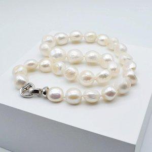 Grand collier de perles baroque, perle naturelle blanche, forme irrégulière, diamètre 12-13mm, collier aimante Lady Pearl1