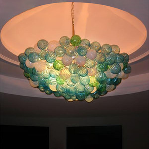New Arrival Hand Blown Glass Chandelier Lighting LED Bubble Lights Glass Art Lamp for House Hotel Decoration