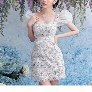 Dress Wedding Party Mini Lace Dresses Elegant Crochet Lacy Dress Vintage 90s White Lace Corset Woman French Dress