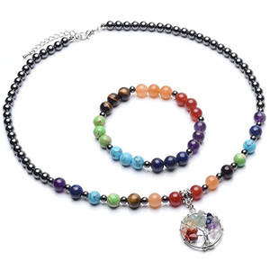 Beaded Bracelet 7 Chakra Yoga crystal stone beads string gallstone energy Bracelet Life Tree gravel Necklace Set