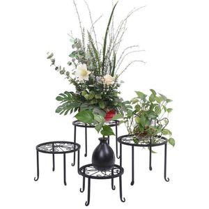 4pcs Metal Outdoor Indoor Pot Plant Stand Garden Decor Flower Rack Holder Round