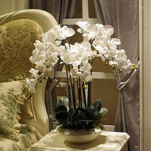 Artificial Gran tamaño PU Real Toque Mano Mano Sensación Orquídea Flor Arreglo Bonsai Flor Sólo Sin Florero Luxious Bouquet1