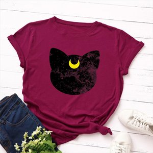 Plus Size S 5XL New Cat Moon Print T Shirt Women 100%Cotton O Neck Short Sleeve Summer TShirt Tops T Shirts Funny