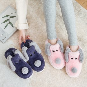 Cartoon Dog Women Winter Warm Fur Slippers 5d Embroidery Men Women Couple Boys Girls House Shoes Home Indoor Bedroom Footwear 201130