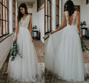 Bohemian Lace Wedding Dresses 2021 Sexy V Neck Backless A Line Bridal Gowns Floor Length Tulle Country robes de mariée Plus Size AL7858