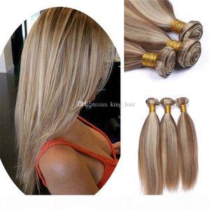 Mix Piano Color #8 #613 Silky Straight Hair Bundles Brazilian Virgin Human Hair Weft Medium Golden Brown And Blonde Hair Extensions
